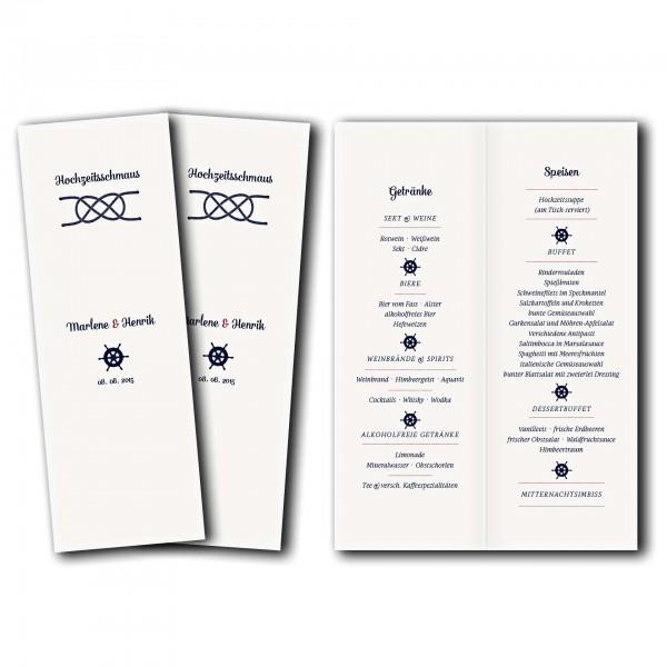 Menükarte – Kartendesign Kreuzknoten - Steuerrad zur Hochzeit