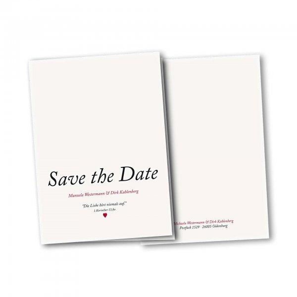 Einladungskarte – 4-Seiter DIN-A5 Kartendesign Kleines Herz zur Hochzeit