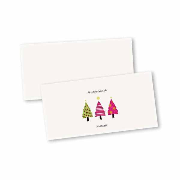 Weihnachtskarte – Klappkarte DIN-lang mit Kopffalz im Kartendesign bunte Tannen