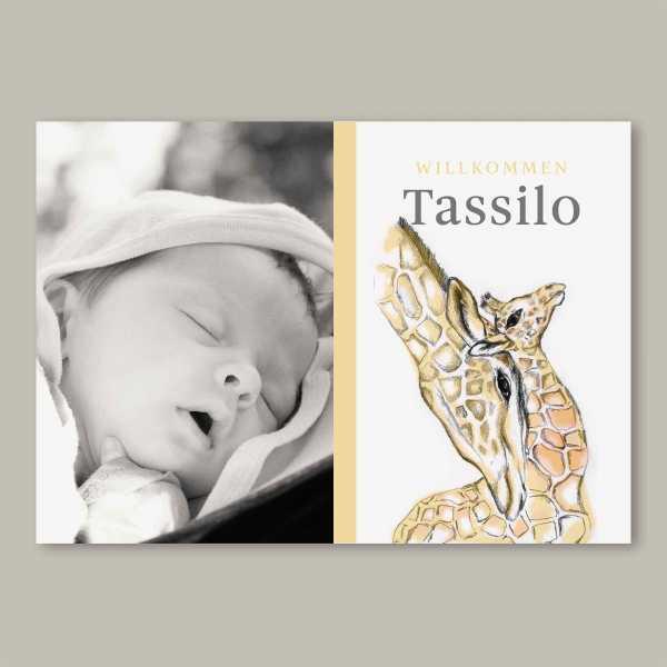 Geburtskarte – Klappkarte – 4-Seiter Klappkarte zur Geburt in der Größe DIN-A6 Querformat mit dem Design Tassilo