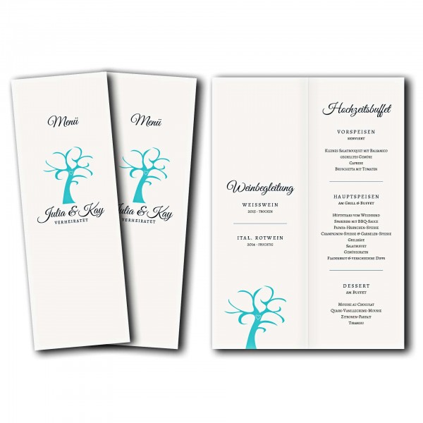 Menükarte – Kartendesign Verliebt Verlobt Verheiratet Version 2