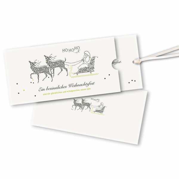 Weihnachtskarte – Schuberkarte DIN-lang mit Satinband Weihnachtsschlitten