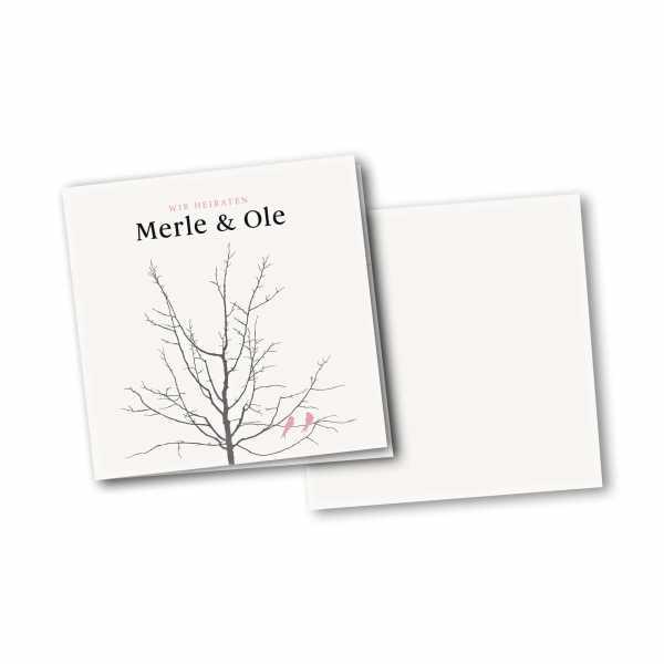 Einladungskarte – 4-Seiter quadratisch Kartendesign Verliebte Vögel im Baum Version 2