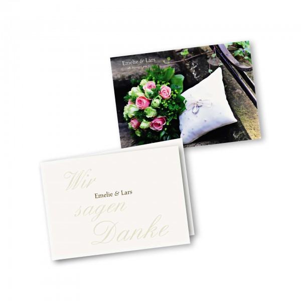 Danksagungskarte – 4-Seiter DIN-A5 Querformat Kartendesign Honeymoon