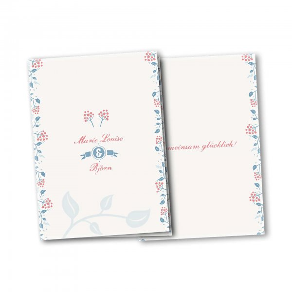 Einladungskarte – 4-Seiter DIN-A5 Kartendesign Moderne Blumenranken