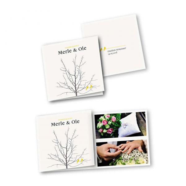 Danksagungskarte – 6-Seiter quadratisch Kartendesign Verliebte Vögel im Baum