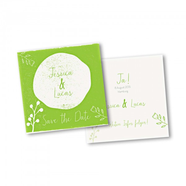 Save the Date Karte – 2-Seiter quadratisch Kartendesign Retro Hochzeit Version 2