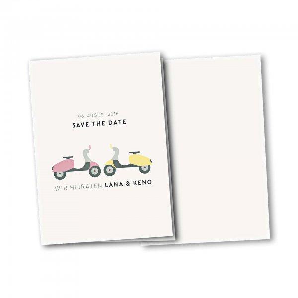 Einladungskarte – 4-Seiter DIN-A5 Kartendesign Motorroller zu zweit