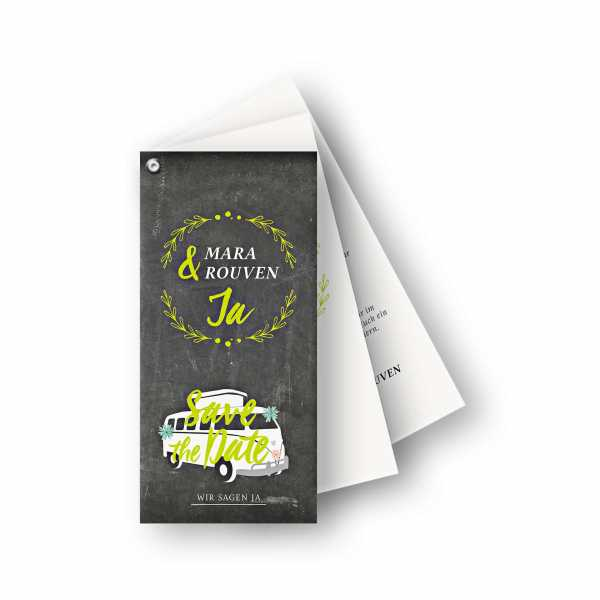 Einladungskarten – Fächerkarte – 3-Blätter Fächerkarte in der Größe DIN-lang Hochformat mit dem Design Bulli Ja