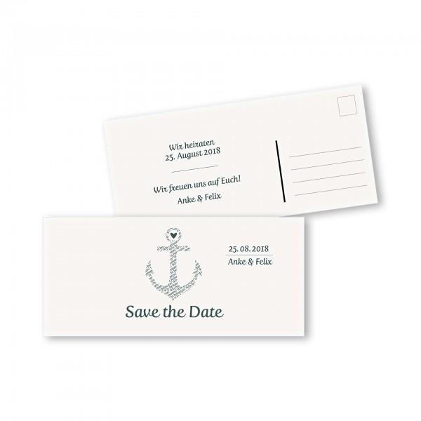 Save the Date Postkarte – 2-Seiter DIN-lang Kartendesign Anker kombiniert mit Typografie Version 1