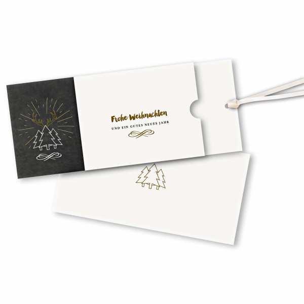Weihnachtskarte – Schuberkarte DIN-lang mit Satinband Weihnachtskarte in Schiefertafeloptik