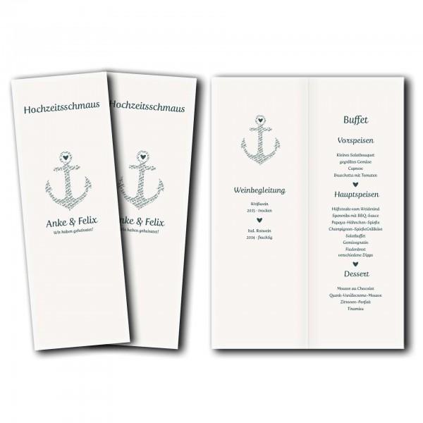Menükarte – Kartendesign Anker kombiniert mit Typografie Version 1