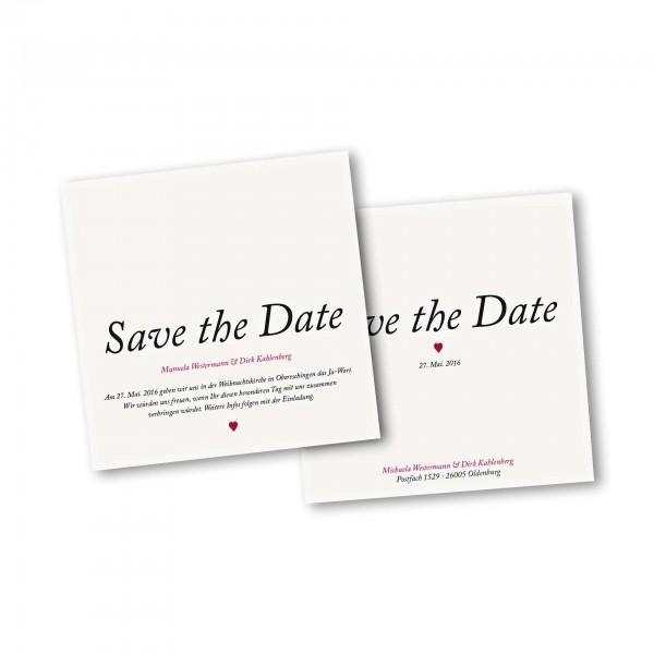 Save the Date Karte – 2-Seiter quadratisch Kartendesign Kleines Herz zur Hochzeit