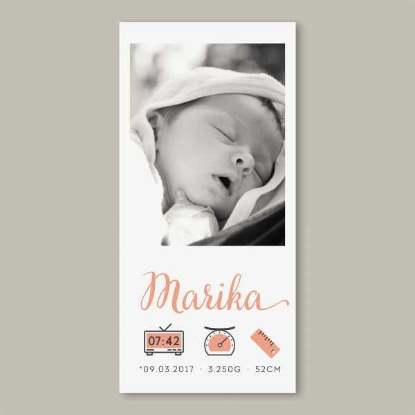 Geburtskarte – Klappkarte – 4-Seiter Klappkarte zur Geburt in der Größe DIN-lang Hochformat mit dem Design Marika