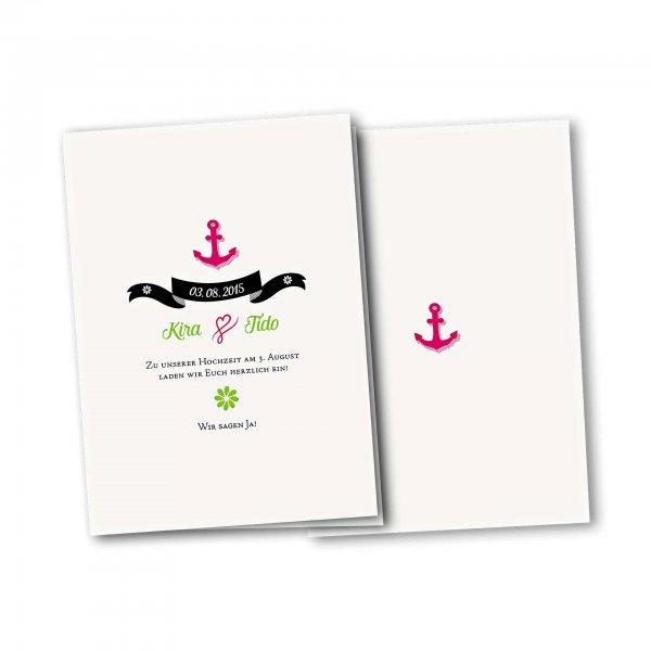 Einladungskarte – 4-Seiter DIN-A5 Kartendesign Anker mit Schleife und Schraffur Version 2