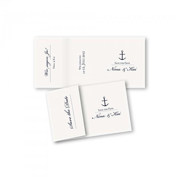 Save the Date Einklapperkarte – Klappkarte DIN-A6 Kartendesign Maritim