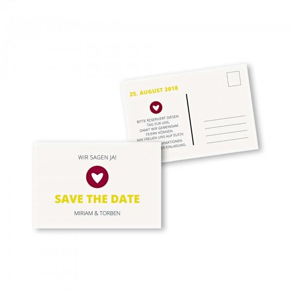Save the Date Postkarte DIN A6 im Design moderne Hochzeitskarte