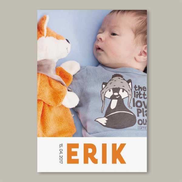 Geburtskarte flache Karte inkl. Umschlag – 2-Seiter DIN-A6 Hochformat Kartendesign Erik