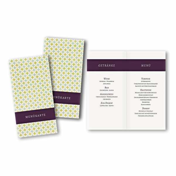 Konfirmationskarte Menükarte im Format DIN lang im Design Laura