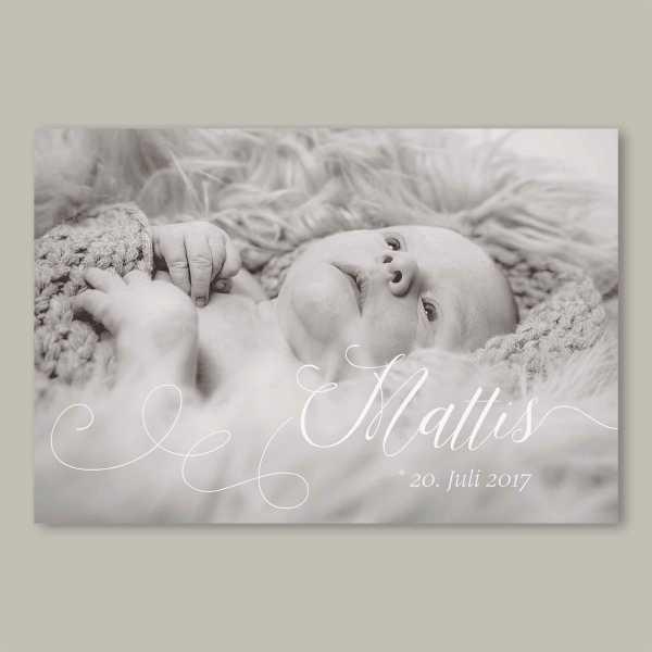 Geburtskarte – flache Karte mit Umschlag – 2-Seiter flache Karte zur Geburt in der Größe DIN-A6 Querformat mit dem Design Mattis
