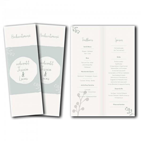 Menükarte – Kartendesign Retro Hochzeit