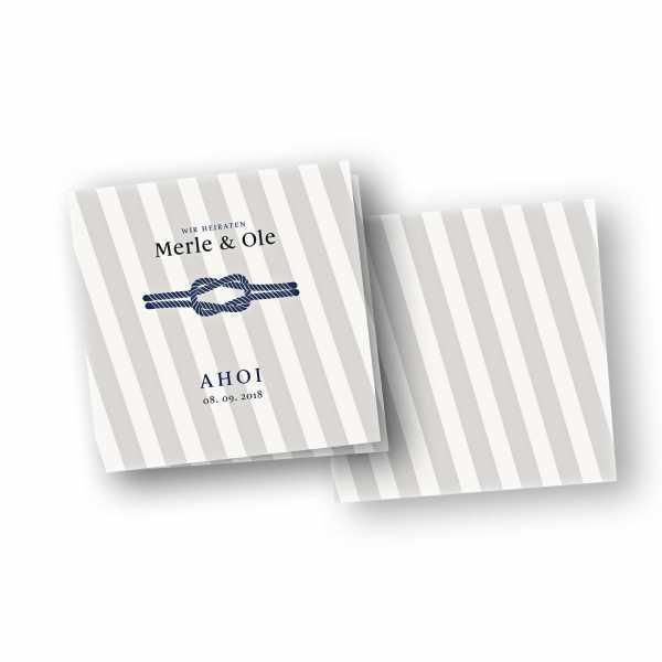 Einladungskarten – Klappkarte – quadratische Klappkarte mit Rückenfalz mit dem Design Kreuzknoten