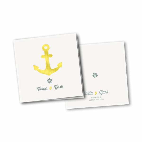 Einladungskarte – 4-Seiter quadratisch Kartendesign Grosser Anker gestreift