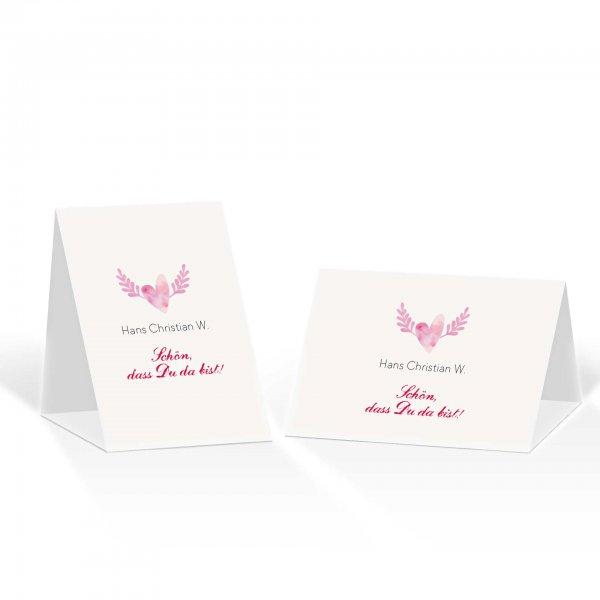 Platzkarte Aufsteller A6 – Kartendesign Hochzeitsherz mit Flügeln