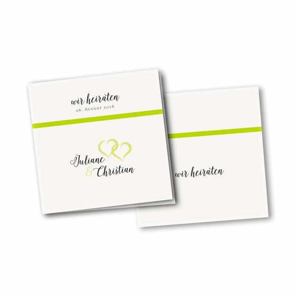Einladungskarte – 4-Seiter quadratisch Kartendesign verkettete Herzen