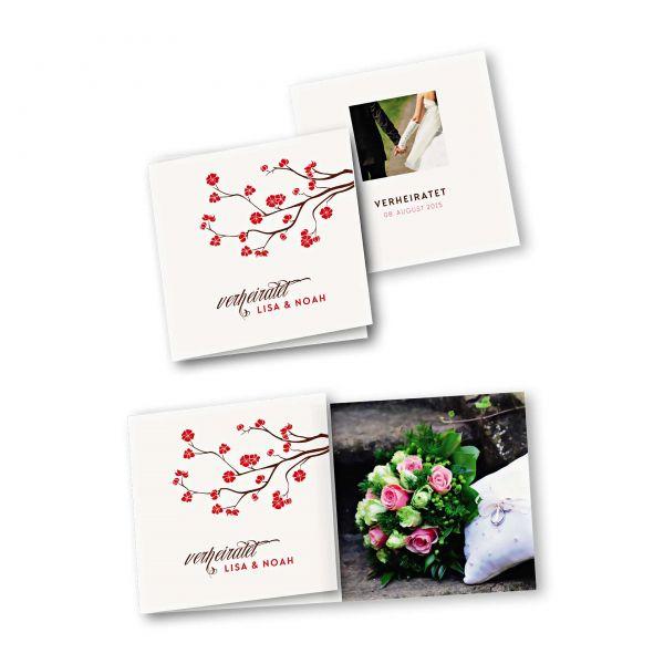 Danksagungskarte – 6-Seiter quadratisch Kartendesign Baumblüte