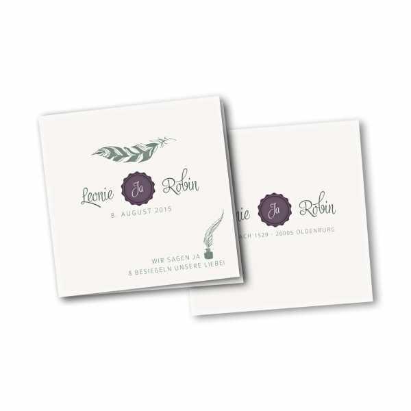 Einladungskarte – 4-Seiter quadratisch Kartendesign Die Liebe besiegeln
