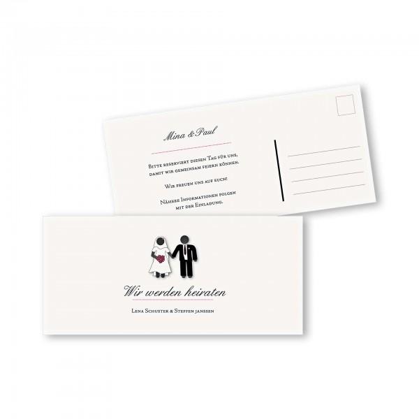 Save the Date Postkarte – 2-Seiter DIN-lang Kartendesign Traumpaar - Wir heiraten