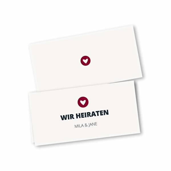 Einladungskarte – 4-Seiter DIN-lang Querformat Kopffalz Kartendesign moderne Hochzeitskarte mit Herz im Kreis Version 1