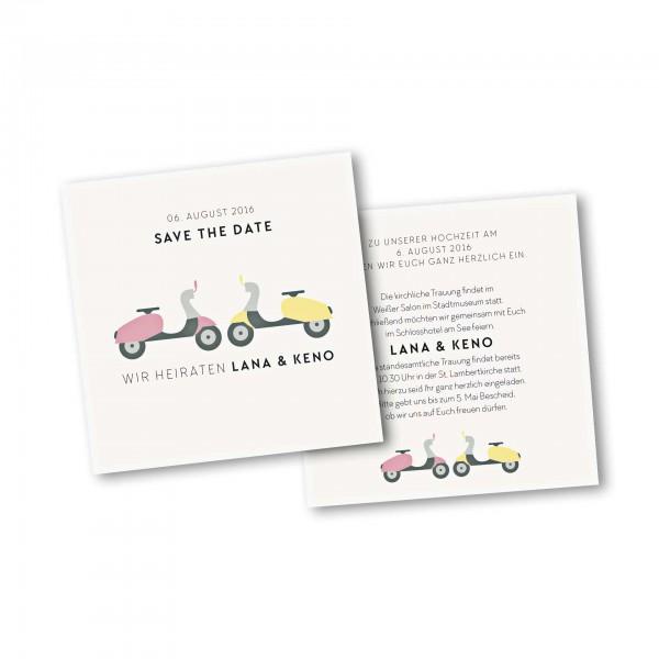 Save the Date Karte – 2-Seiter quadratisch Kartendesign Motorroller zu zweit