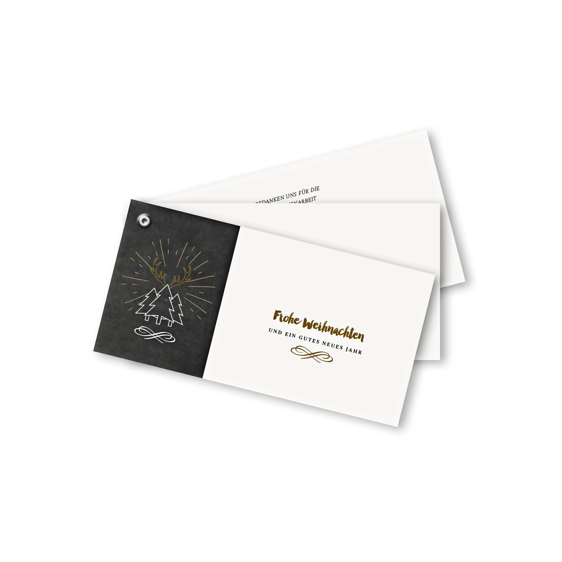 Weihnachtskarten Per Mail.Weihnachtskarte Fächerkarte Din Lang Querformat Im Kartendesign Weihnachtskarte In Schiefertafeloptik