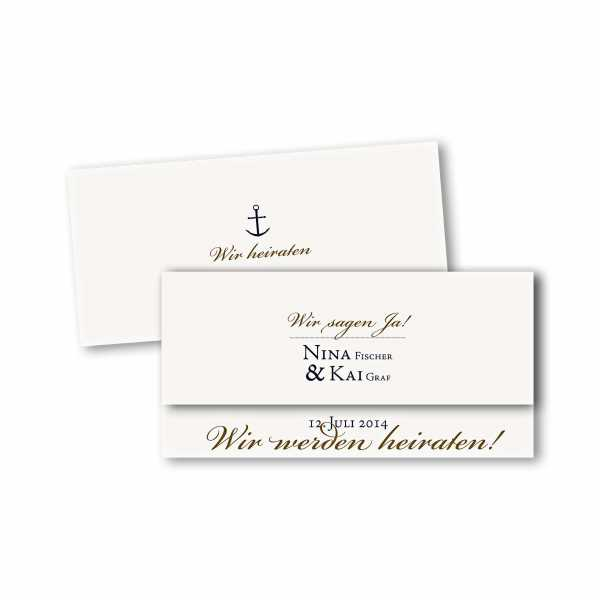 Einladungskarte – asymmetrische Klappkarte DIN-lang im Kartendesign Maritim