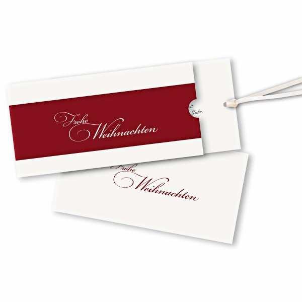 Weihnachtskarte – Schuberkarte DIN-lang mit Satinband Weihnachtsrot