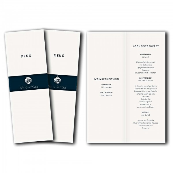 Menükarte – Kartendesign Hochzeitsfest Version 1