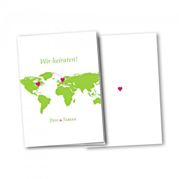 Einladungskarte – 4-Seiter DIN-A5 Kartendesign Herzentreffen Version 1