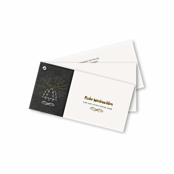 Weihnachtskarte – Fächerkarte DIN-lang Querformat im Kartendesign Weihnachtskarte in Schiefertafeloptik