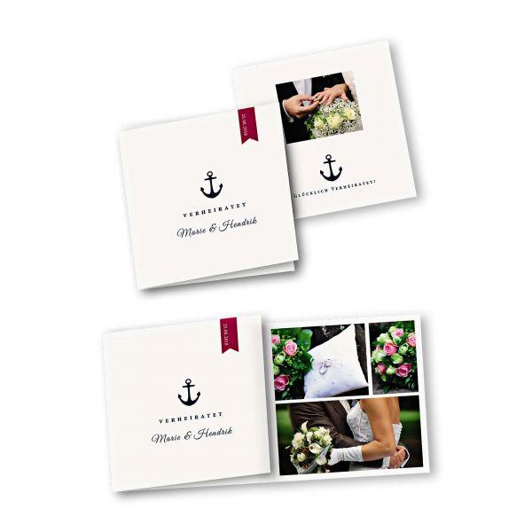 Danksagungskarte – 6-Seiter quadratisch Kartendesign Anker und roter Wimpel