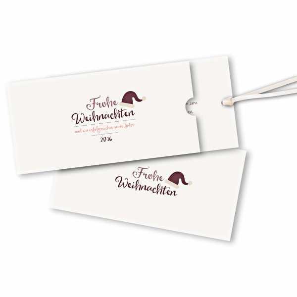 Weihnachtskarte – Schuberkarte DIN-lang mit Satinband Weihnachtsmütze