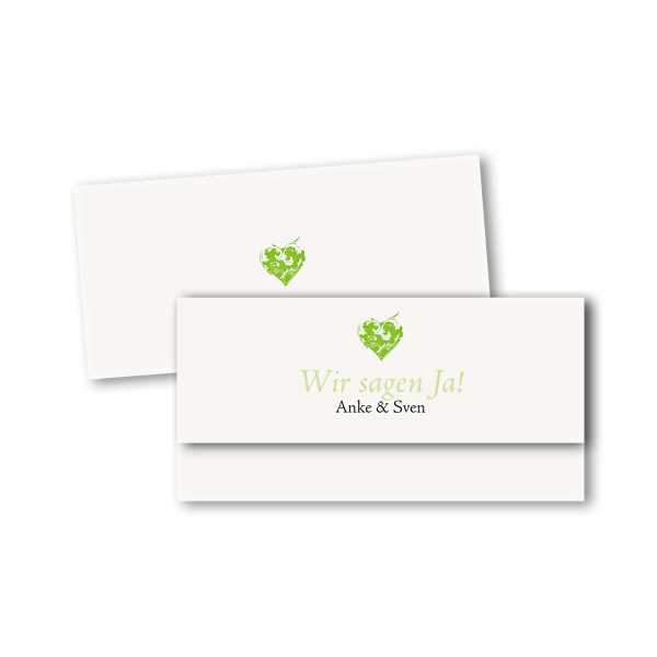 Einladungskarte – asymmetrische Klappkarte DIN-lang im Kartendesign Traumhochzeit