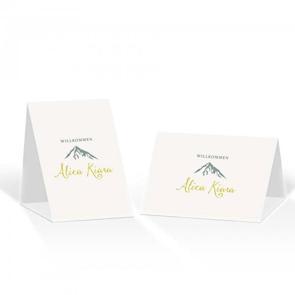 Platzkarte Aufsteller A6 – Kartendesign Hochzeitsfeier in den Bergen Version 2