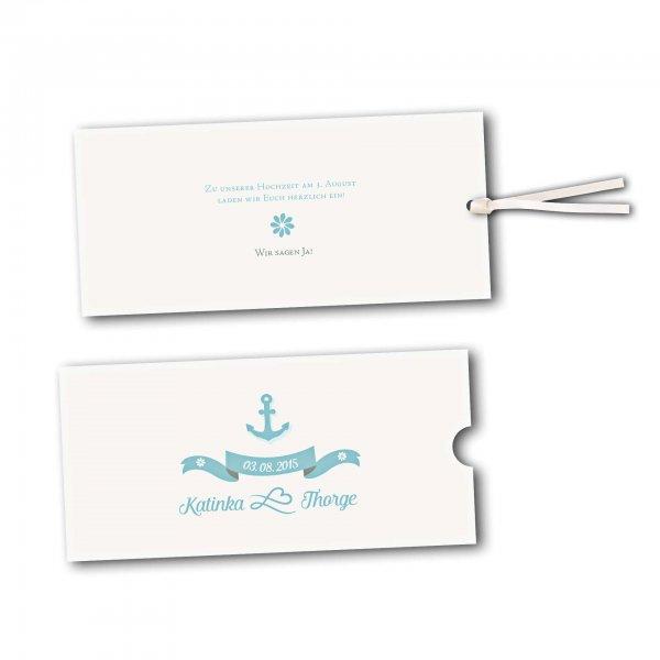 Schuberkarte - Kartendesign Anker mit Schleife und Schraffur