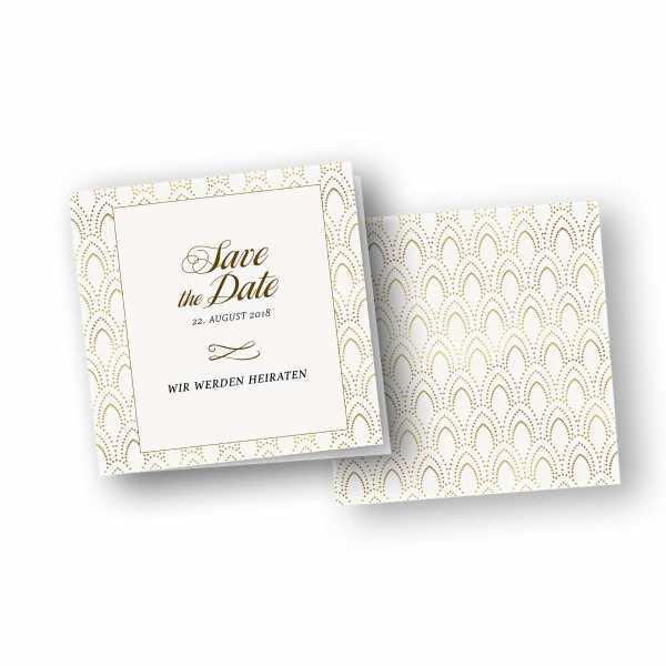 Einladungskarten – Klappkarte – quadratische Klappkarte mit Rückenfalz mit dem Design Goldene Zwanziger Version 1