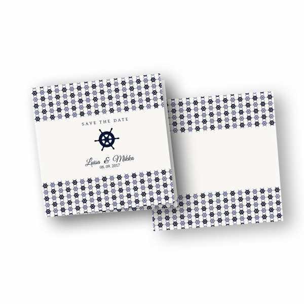 Einladungskarten – Klappkarte – quadratische Klappkarte mit Rückenfalz mit dem Design Hochzeit maritim