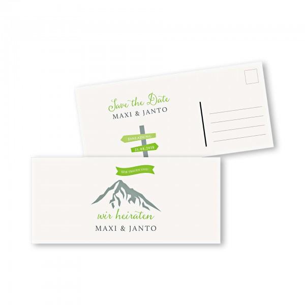 Save the Date Postkarte – 2-Seiter DIN-lang Kartendesign Hochzeitsfeier in den Bergen