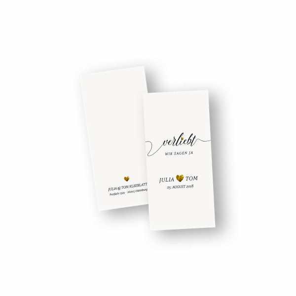 Einladungskarten – Klappkarte – DIN-lang im Hochformat mit Kopffalz mit dem Design Ich bin verliebt