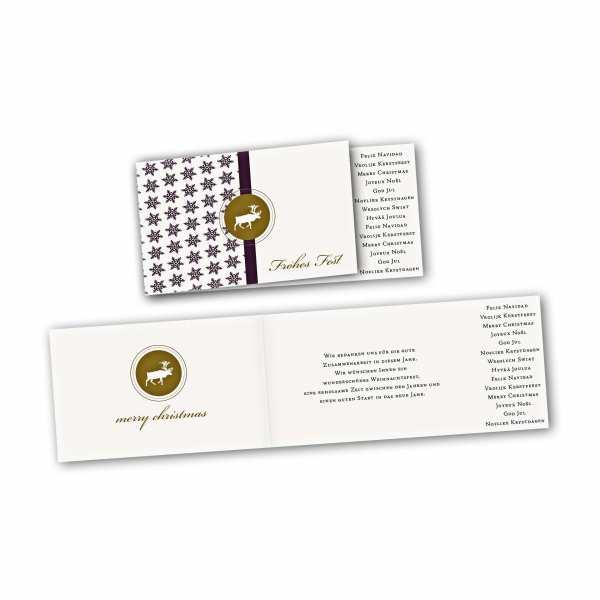 Weihnachtskarte – asymmetrische Klappkarte DIN-lang mit Rückenfalz im Kartendesign Schneeflocke